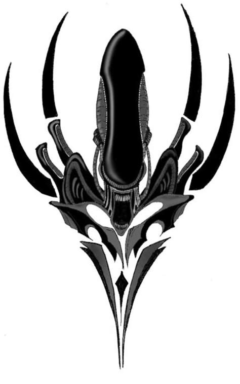 aliens and predators alien tattoo design