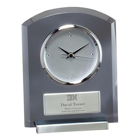 executive smoked glass desk clock with logo
