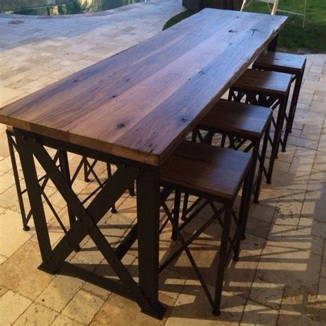 Outdoor tables chairs reclaimed wood outdoor bar table wood patio bar