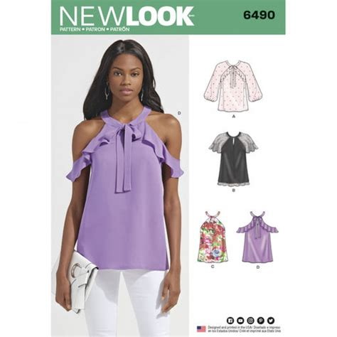 Sleeve Blouse New Look by New Look Sewing Pattern 6490 Blouse Tops With