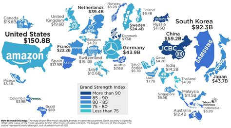 Infographic This Map Shows The Most Valuable Brand For Each Country by Map The Most Valuable Brand In Each Country In 2018