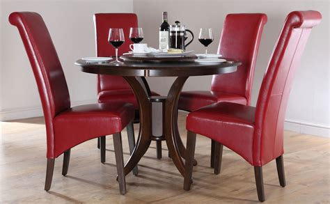 red dining room set dark somerset boston round dining room table and 4 leather
