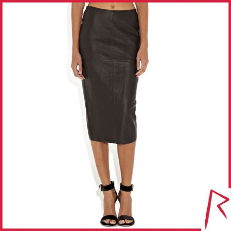 river island black rihanna snake embossed leather skirt in