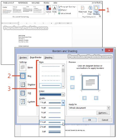 cara membuat halaman pada word 2013 cara membuat border di sekeliling halaman word 2013
