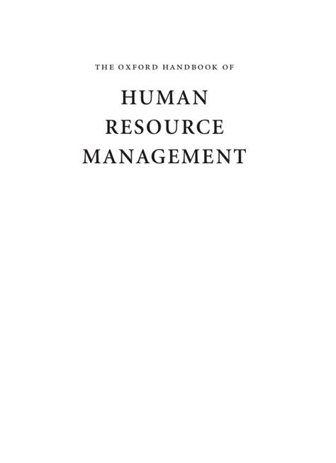 Strategic Human Resource Management Notes Mba by Handbook Of Hrm