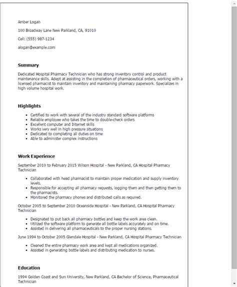 Resume For Pharmacy Technician by Pharmacy Technician Resume