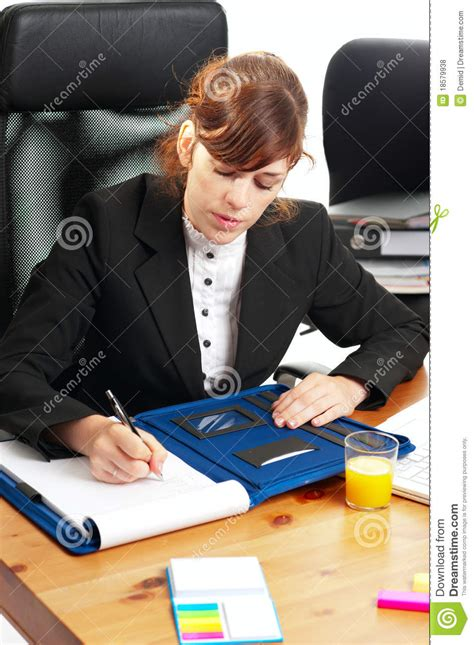 Business Lady At A Desk Royalty Free Stock Photos Image Student Working At Desk