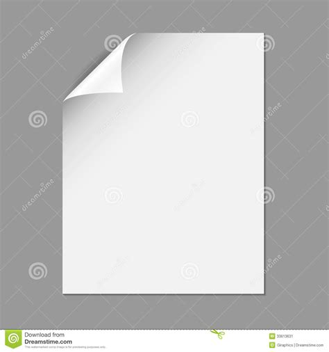Paper Corner Fold - single paper page with folding corner stock image image