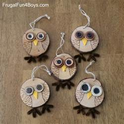 Frugal Home Decor How To Make Adorable Wood Slice Owl Ornaments And An Owl Tree