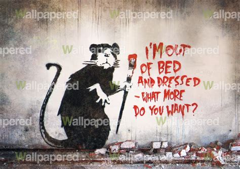 banksy out of bed rat wall mural banksy wallpaper