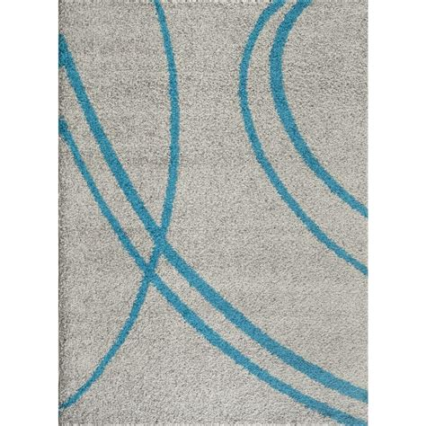 Turquoise And Gray Area Rug World Rug Gallery Soft Cozy Contemporary Stripe Turquoise Gray 7 Ft 10 In X 10 Ft Indoor Shag