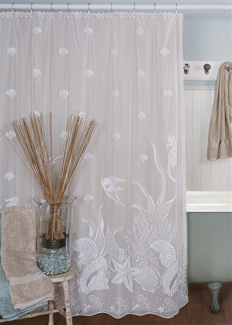 seascape shower curtain heritage lace