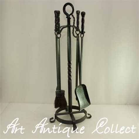 antique wrought iron fireplace tools vintage fireplace tools set wrought iron 5