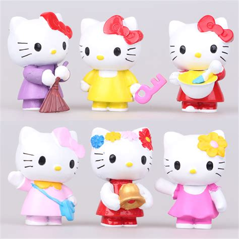 Set Hello 6 Pcs 6pcs set 2 inch hello kt cat figure hellokitty models for gifts cat in