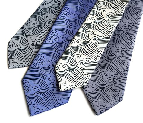 japanese pattern tie crashing waves silk necktie japanese nautical print tie