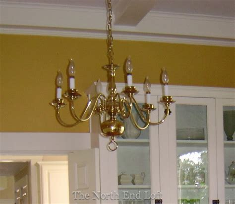 The North End Loft Spray Painting A 1990 S Brass Chandelier Spray Paint Chandelier
