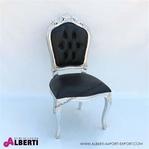 sedie stile barocco sedia barocco parigi plus foglia argento con pelle nera