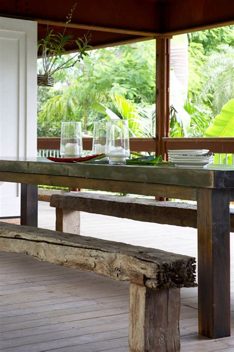 rustic wood dining table with bench 19 rustic outdoor bench designs decorating ideas design trends premium psd