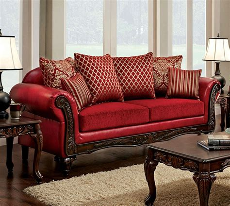 red sofa and loveseat marcus traditional style red leatherette fabric sofa set