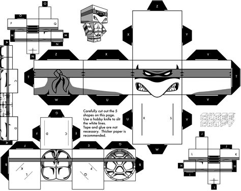 Papercraft Black And White - mirage turtle by cubeecraft on deviantart