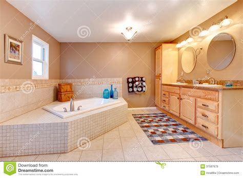 Large Beige And White Bathroom Stock Image   Image of room
