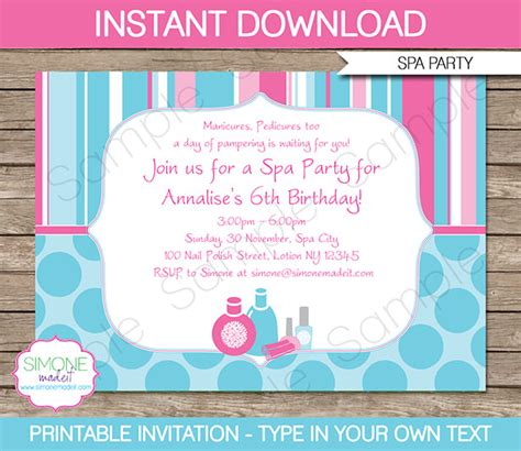 spa birthday invitation template spa birthday invitations decorations