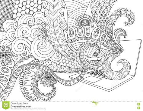 anti stress colouring book doodle and doodle design of line flowing out of laptop for
