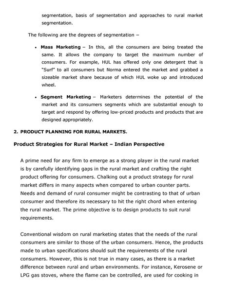 Rural Marketing Notes For Mba by Rural Marketing Notes