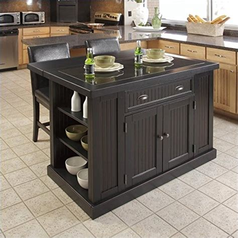 granite top kitchen islands home styles nantucket granite top kitchen island and stools 3 set in distressed black