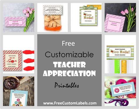 teacher appreciation printables customize