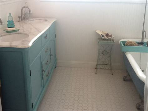 bathroom claw foot tub turquoise vanity octagon tile
