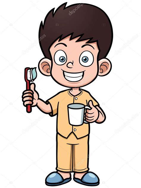 dibujo de ni a cepill ndose los dientes para colorear ni 241 o cepill 225 ndose los dientes vector de stock 169 sararoom