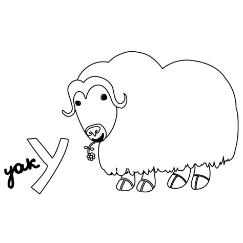 coloring page yak y for yak coloring page