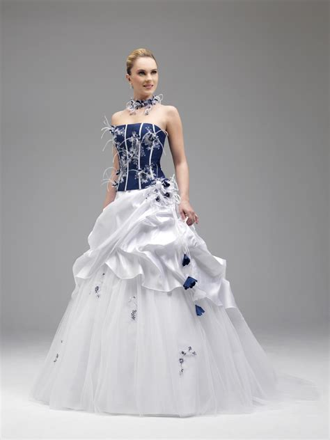 Robe De Mariée Bleu Turquoise Et Ivoire - robe de mariee bleu et blanche le de la mode