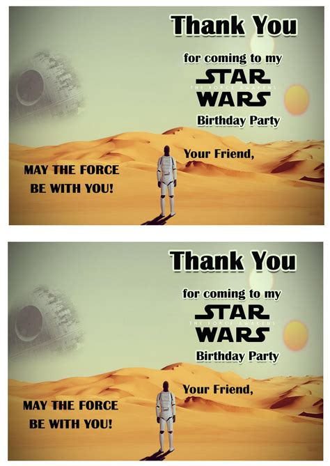 Free Wars Thank You Cards