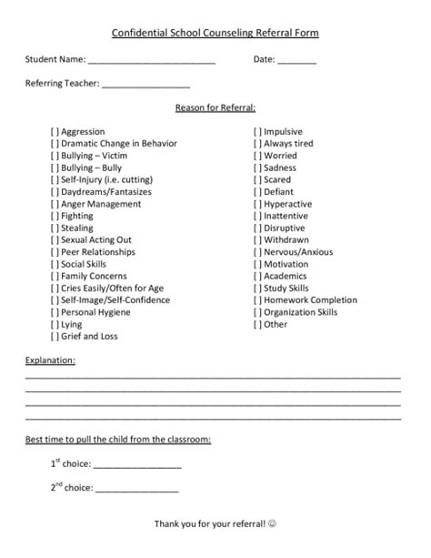 Individual Counseling Music City School Counselor Student Referral Form Template