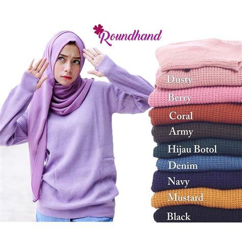 Sweater Wanita Rajut Pink sweater rajut roundhand atasan wanita knit longsleeve