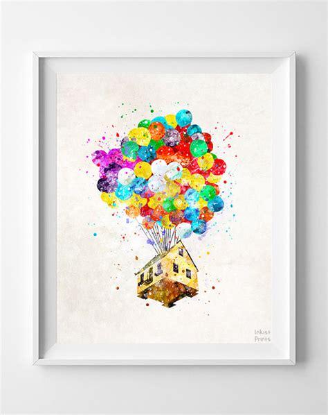 free disney printable wall art up disney print balloon house watercolor art by inkistprints
