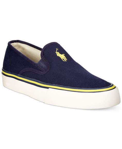 polo mens sneakers lyst polo ralph mytton slip on sneakers in blue