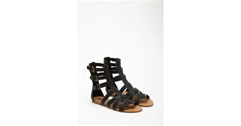gladiator sandals forever 21 forever 21 faux leather gladiator sandals in black lyst