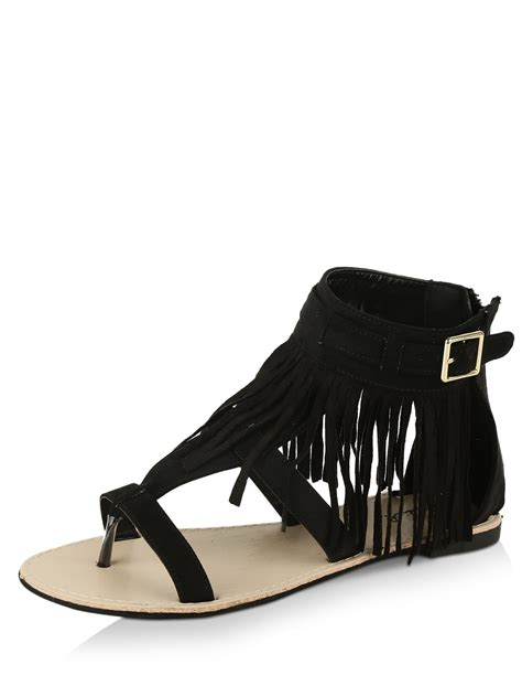 black fringe sandals flat buy qupid fringe detail flat gladiator sandals for