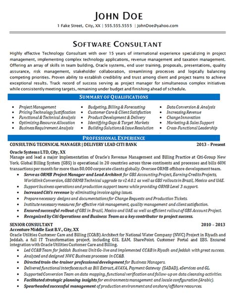 Cv Consulting Exle How To Write A Software Consultant Resume 28 Images