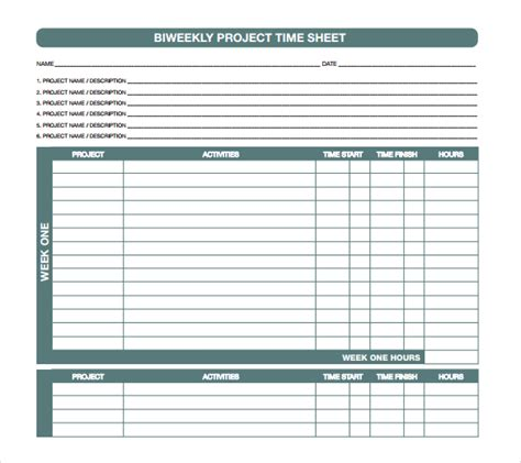 21 Project Timesheet Templates Free Sle Exle Format Download Free Premium Templates Excel Timesheet Template Projects