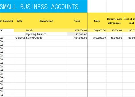 template accounts for small company small business accounts sheet my excel templates