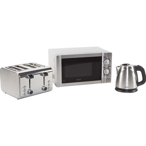 Brushed Stainless Steel Kettle And 4 Slice Toaster Set Igenix 20l 800 W Countertop Microwave With Kettle And 4