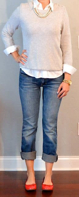 Trend Worth Trying White Gray Sweaters by Gray Sweater White Shirt Pearls
