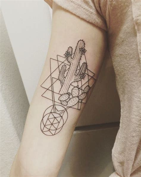 geometric cactus tattoo