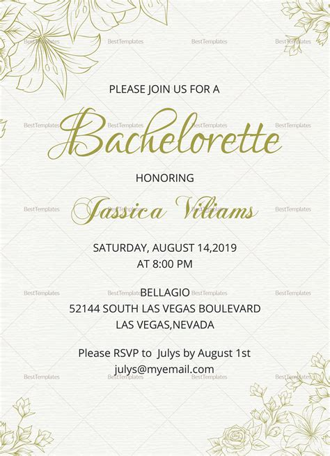 Simple Bachelorette Party Invitation Design Template In Word Psd Publisher Bachelorette Invitation Template