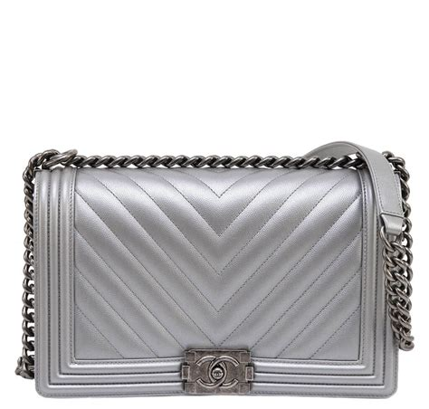 Channel Wog Boy Caviar chanel metallic grey silver boy bag caviar leather baghunter