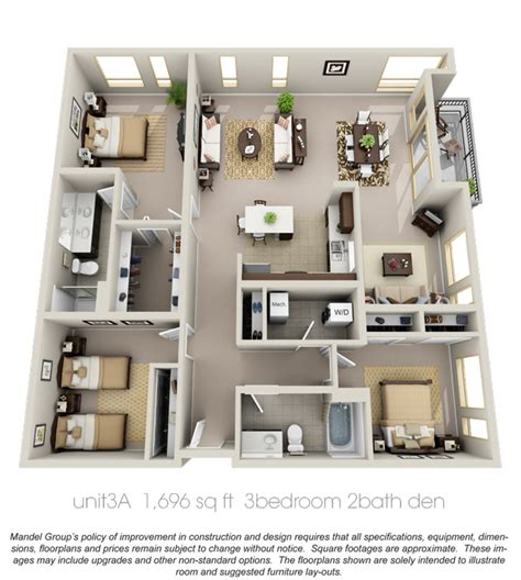 three bedroom two bathroom apartment 3d floor plan apartment google search casas